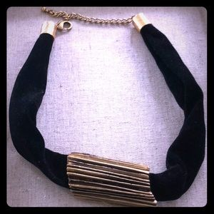 Black velvet and gold metal necklace/choker